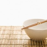 Chopsticks on an Empty Bowl. Isolated