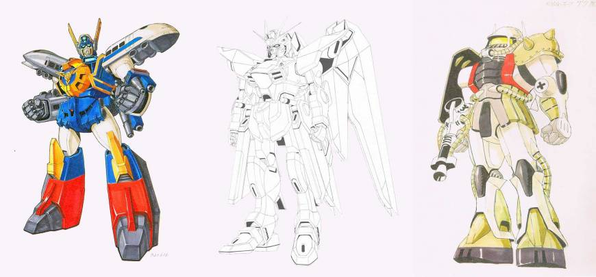 'Preliminary model sheet: Mightgaine, front view' (1992), 'Final model sheet: Freedom Gundam, front view' (c.2003), 'First model sheet: Zaku' (1978) | © SUNRISE INC.